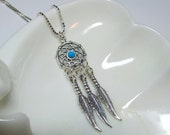 Dream Catcher Necklace, Dreamcatcher, 925 Sterling Silver with Turquoise Bead on 18 Inch Sterling Silver Chain, Three Feathers