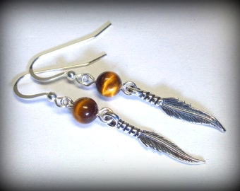 Sterling Silver Feather Earrings with Tiger's Eye Gemstone, Boho Chic, Long Dangle Bohemian Handmade Wire-Wrapped