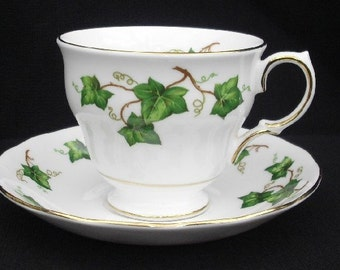 Vintage Colclough Cup and Saucer - White with Green Ivy, Gold Rims
