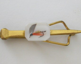 Fishing Hook Hand Tied Fly Lure Resin Tie Clip Bar Vintage