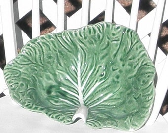 Cabbage Leaf Serving Bowl Vintage Bordallo Pinneiro Majolica Green Portugal Large