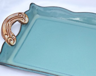 Tray with Handles in Turquoise and Cream - Ceramic Stoneware Pottery
