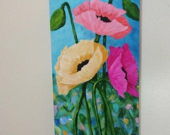 Poppy Art - Original Painting - 8x16 deep edge canvas - 3 poppies - pink- yellow - coral