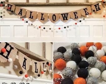 Halloween Boo Wool Felt Ball Garland 6 Feet+ Halloween Decor, Photo Prop!
