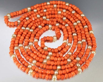 Antique Coral Bead Victorian Necklace, Mediterranean Coral Bead Necklace, Muff Chain Carved Coral Beads, 1800s Antique Jewelry, Pearl
