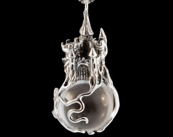 Castle Orb Pendant Castle Jewelry Castle in the Clouds Knights Jewelry Renaissance Necklace Sleeping Beauty Charm Camelot Pendant Storybook