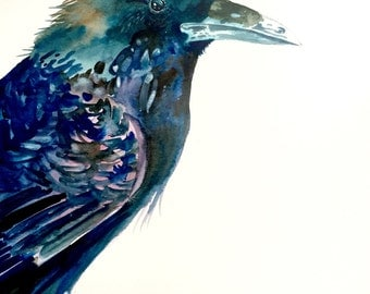 "Crow Watercolor Painting, Original Art, 11""x15"""