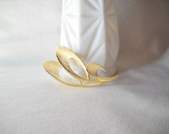Vintage Brooch Textured Gold Tone Brooch Vintage Pin Abstract Modern Brooch