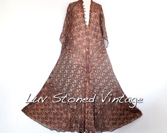 Vtg 70s Rare Sultana Adini Cotton Gauze Caftan Hippie Indian Festival Gypsy Maxi Dress . SML . 1181.5.18.16