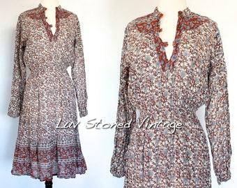 XS - SM . Vintage 70s Pakistan Metallic Cotton Boho Hippie Indian Ethnic Festival Midi Dress . 1189.6.9.16