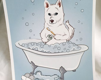 Bathtime White Husky - Eco-Friendly 8x10 Print