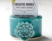 business card holder for desk, dark teal with flower