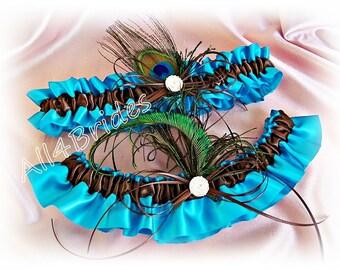 Peacock Wedding Bridal Garter Set Turquoise and Brown wedding leg garters.  Bridal garter belt