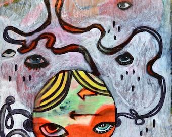 OOAK Introvert Girl Painting on Wood Panel