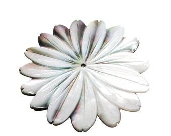 Mother of Pearl Pendant, Flower Pendant, 46mm, SKU 3818