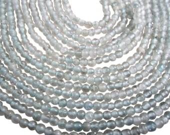 Aquamarine Beads, 2mm Round Aquamarine, March Birthstone, SKU 3334A