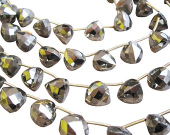 Pyrite Beads, Pyrite Briolettes, Faceted Triangle, SKU 1606