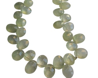 Prehnite Beads Briolettes, Faceted Oval Briolettes, Sage Green Gemstone Beads, , SKU 418