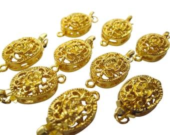 2 Brass Clasps, Goldplated Clasp, Single Strand Clasps, Flower Box Clasp, Brass Clasp, SKU 5063