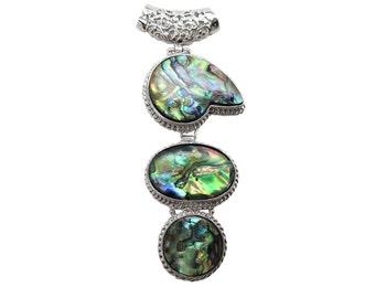 Abalone Pendant, Silver Pendant, Silver Plated Pendant, SKU 5083