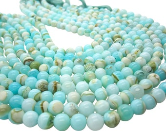 Blue Peruvian Opal Beads, Peruvian Opal Beads, Blue Opal Beads, Round, Aqua Gemstone, Wholesale Opal, SKU 5106