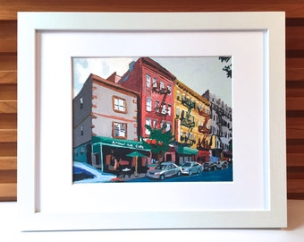 Arthur Avenue The Bronx Fine Art Giclee Print Framed Little Italy New York Belmont Section Bronx Cityscape Painting by Gwen Meyerson