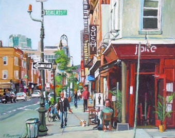 Brooklyn Art, Carroll Gardens, Fine Art Print Smith Street Scene, NYC Colorful Urban Fine Art. Gwen Meyerson