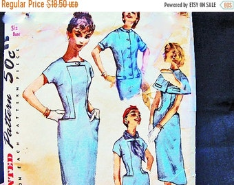 Sewing Pattern SALE Womens Sheath Dress and Jacket Pattern 1950s Dress Pattern Junior Size 13 Dress with Jacket or Short Cape Vintage Sewing