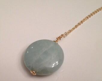 Aquamarine Gemstone Necklace, Aquamarine Pendant, 14K Gold Filled Chain, Aqua Ocean Necklace, Mother's Day Gift