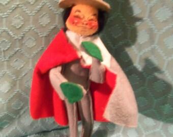 "Vintage Annalee Mobilitee Doll Christmas Caroler 11"" Felt Doll"