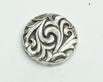 Button , flat back antique silver finish,  sold 3 per package 09540AS