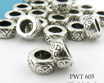 8mm Large Hole Beads Thick Ring Bead (PWT 605) 20 pcs BlueEchoBeads