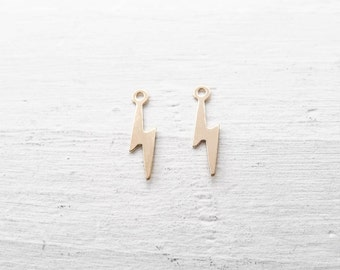 Tiny Gold Lightning Bolt Charms Thunder bolt Pendants for Necklaces Earrings or Bracelets Gold Filled (CC3032F)
