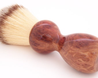 Shaving Brush:  Red Mallee Burl Wood 22mm Modern Synthetic Hair (Handmade in USA) M1 - Retirement Gift - Executive Gift - Gift for Him