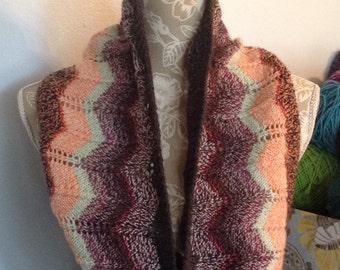 Chevron Knitted Cowl Peach, Brown