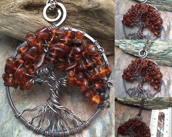 Amber Tree of Life Copper Wire Wrapped Necklace with Genuine Amber Gemstone, Free Shipping, Christmas, Birthday, Anniversary Gift