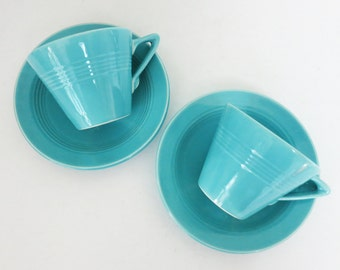 Pair of Turquoise Harlequin Teacups & Saucers, Homer Laughlin China Co., 1930s Art Deco, Tea for Two, HLC