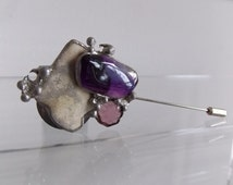 Brutalist  Modernist Amethyst Stick Hat Pin/ vintage 1970s artisan coat pin