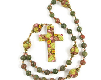 Unakite Jasper Anglican Rosary Prayer Beads Handmade Polymer Clay Cross Focal Beads Episcopal Protestant Christian Gift Religion