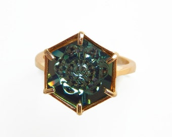 Hexagon ring made with  Swarovski® crystal in erinite green