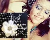 Fascinator Veil Bridal Set, Feather Flower Headpiece, Birdcage Veil, Wedding Hair Accessories, NIRVANI VISTA (2 items)