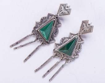 """Long Vintage Navajo Earrings - Sterling Malachite - 3"""" with Fringe - Rudy Willie"""
