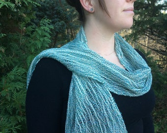 Teal blue hand dyed wool and black walnut hand dyed cotton 10 x 72 hemmed hand woven