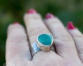 Turquoise ring in  rustic sterling silver - Ocean Dreaming -