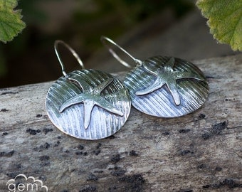 Sterling silver starfish rustic disc, dangle earrings  - Ripples and Tides -