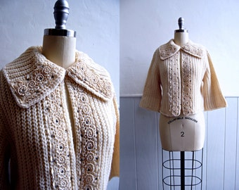 1950s Cream Bolero Cable Knit Sweater with Rhinestones // Wool Shrug Cardigan