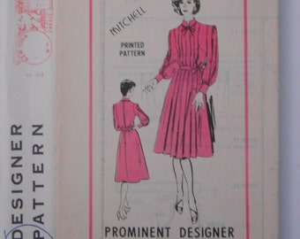 Vintage 70s Misses Tailored Dress Belted at Waist Mail Order Sewing Pattern A 975 Size 14 Bust 36 UNCUT