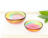 Pair of two.One large and one small resin salt and pepper spice pinch trinket dish bowls in orange,yellow,green,pink and white.