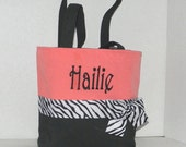 Black and Coral, Zebra  Monogrammed/Personalized Tote, Purse, Bridesmaid Gift, Flower Girl, MOB, MOG,Cheer Squad, Brownie