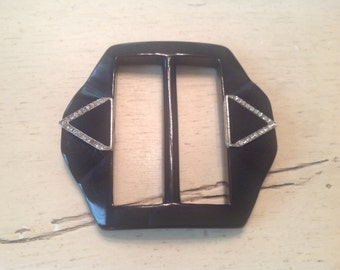 Vintage Plastic Belt Buckle for Dress Black Art Deco Rhinestones NOS Deadstock